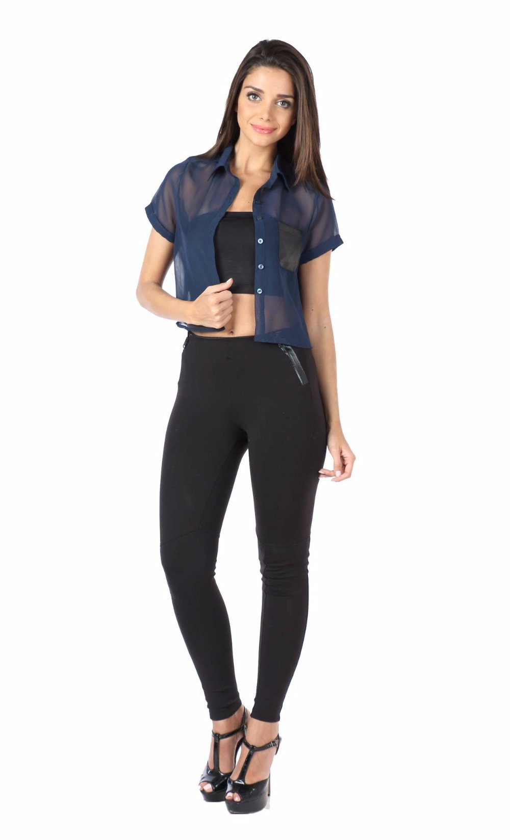 Navy Crop Shirt with Leather Pocket Front