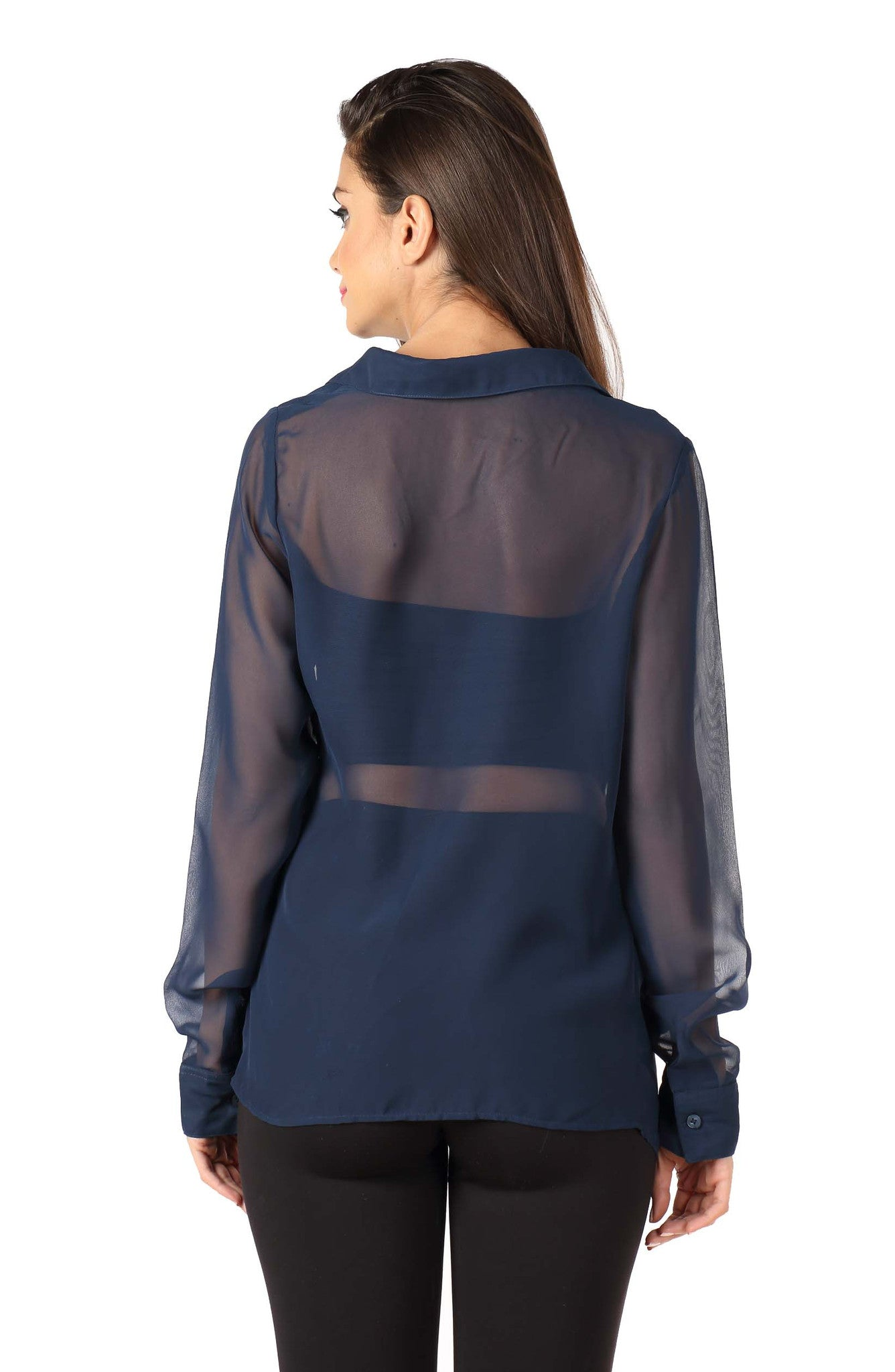 Navy Blue Front Cowl Top Back