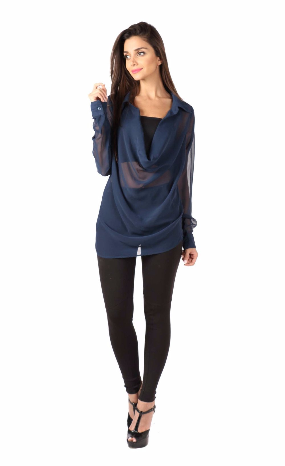 Navy Blue Front Cowl Top Front