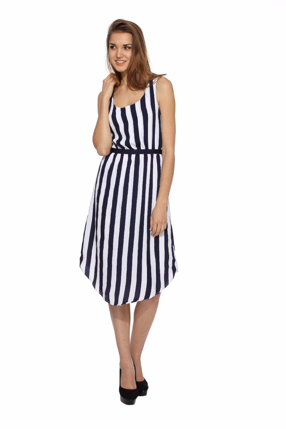 Tulip Dress in Blue Strip Front