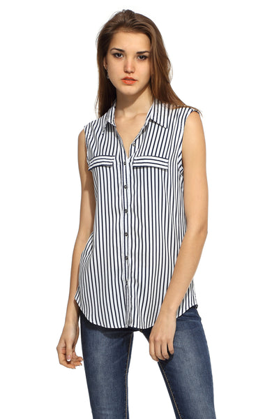 Navy Stripe Sleeveless Long Shirt Top Front