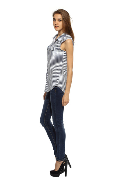 Navy Stripe Sleeveless Long Shirt Top Side