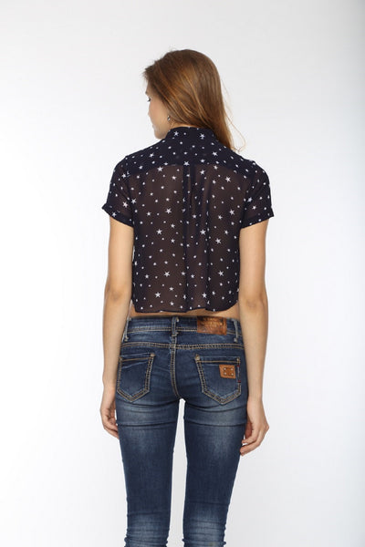 Star Printed Crop Top Shirt Back