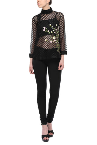 Net Top With All Over Spring Floral Embroidery Front