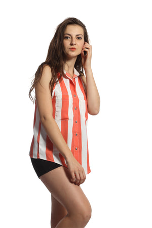 Orange Stripe Sleeveless Shirt Top Side
