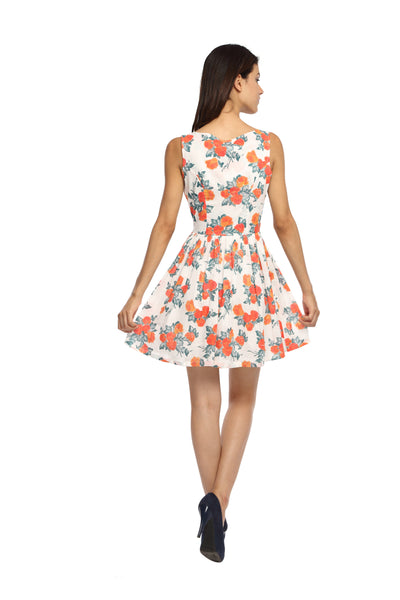 Orange Floral Flare Dress Back