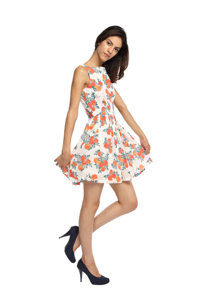 Orange Floral Flare Dress Side
