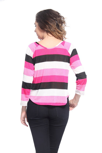Pink Stripe Raglon T Shirt Top Back