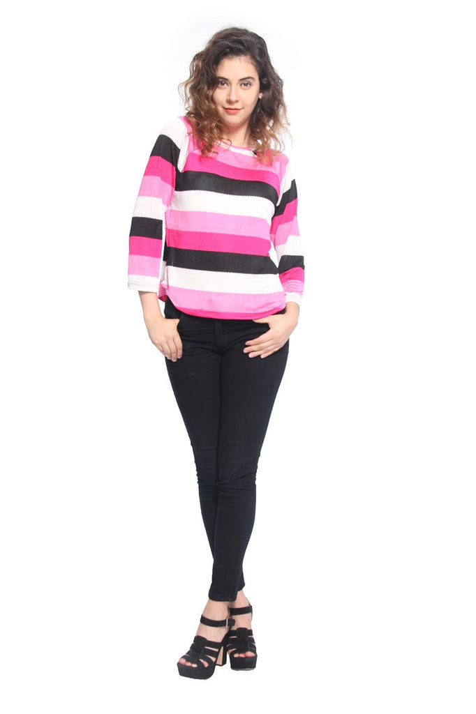 Pink Stripe Raglon T Shirt Top Front