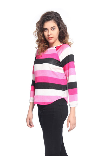 Pink Stripe Raglon T Shirt Top Side