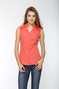 Shoulder Pin Tuck Top Front