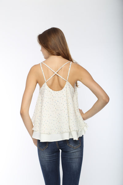 White Print Back Cross Layer Top Back