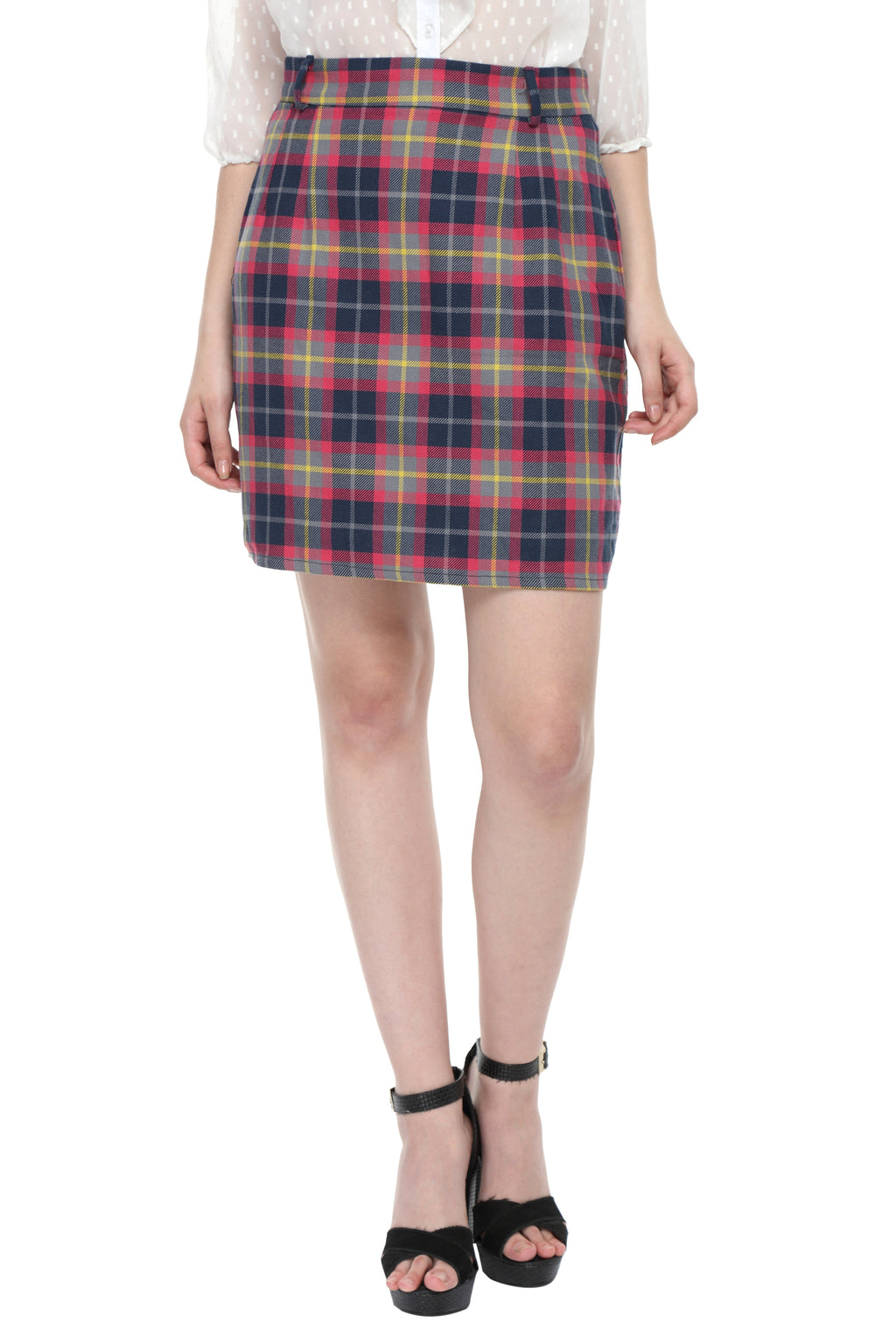 Pink Checks Highwaist Skirt Front
