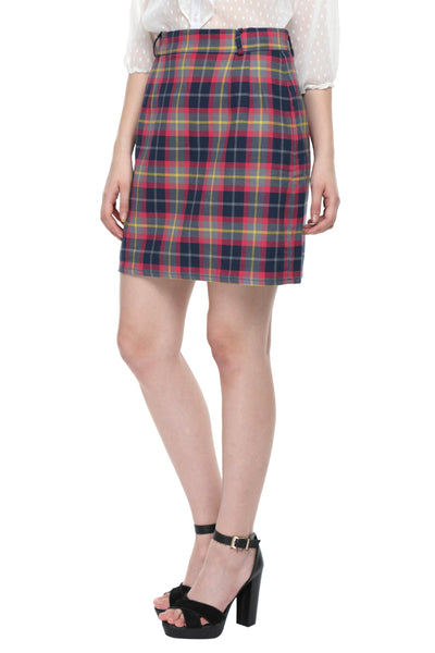 Pink Checks Highwaist Skirt Side