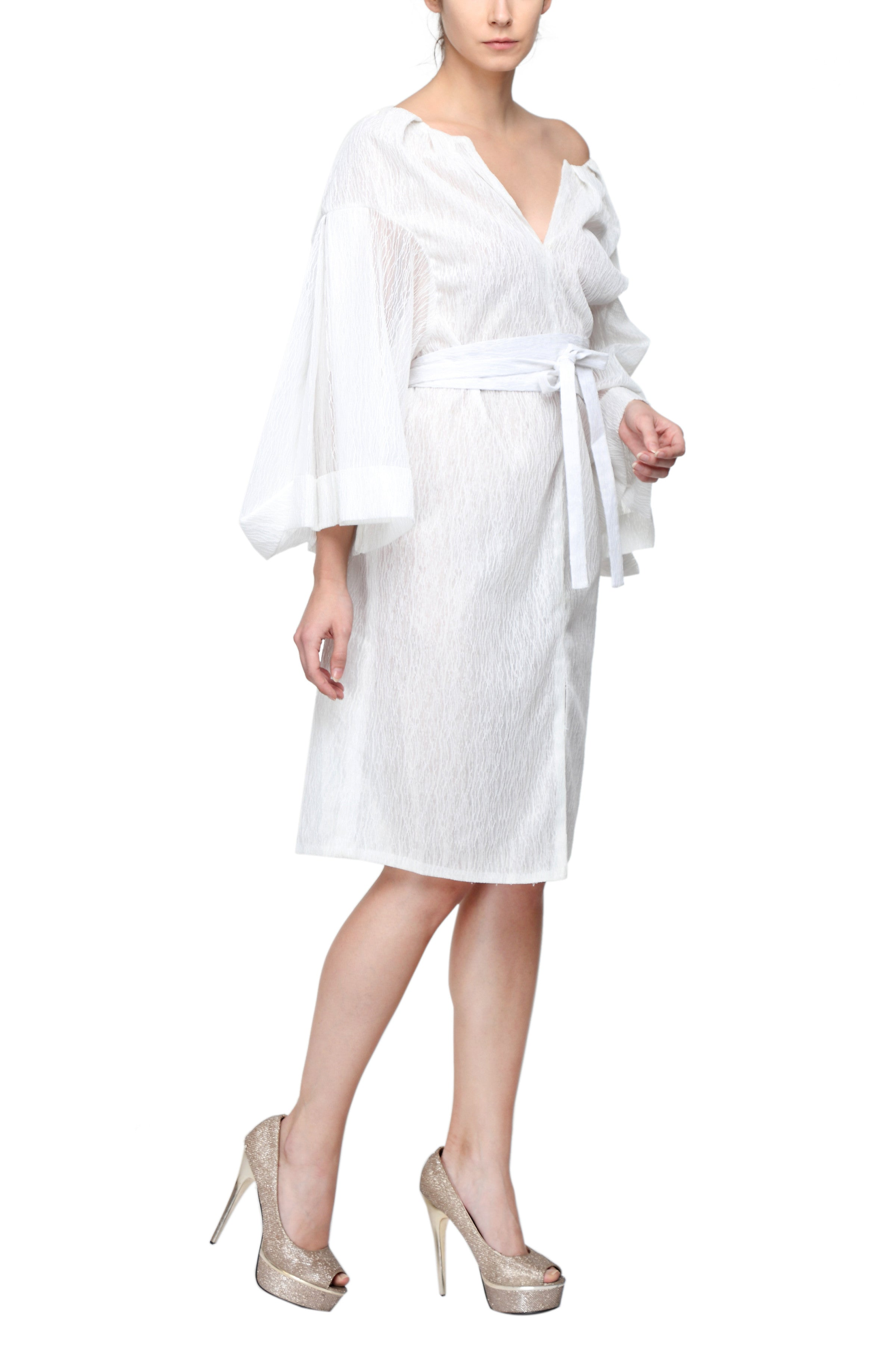 Fluted Sleeves Dress Side