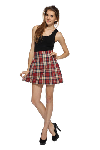 Red Checks High Waist Skirt Front