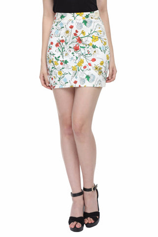 Red Floral Print Peplum Highwaist Skirt Front