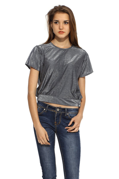 Silver Pin Tuck Crop Top Front
