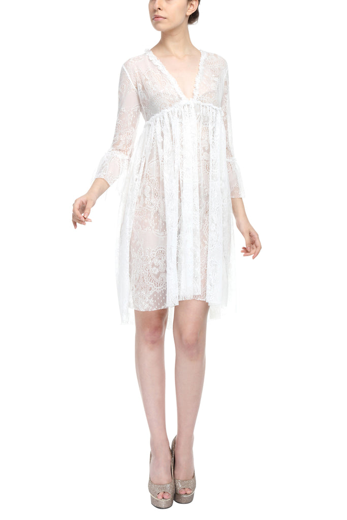 Soft Lace Ruffled Dress Front