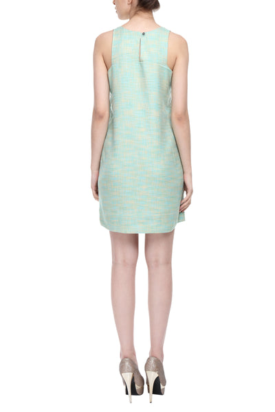 Square Armhole Dress In Sea Green Back
