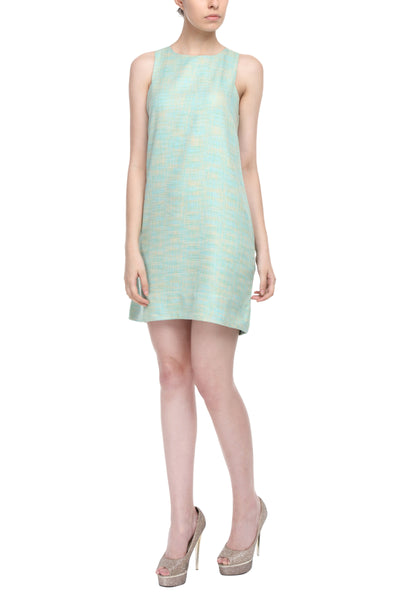 Square Armhole Dress In Sea Green Front