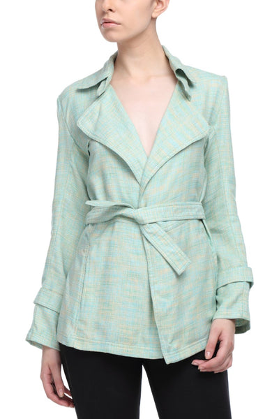 Summer Trench Coat in Green Front