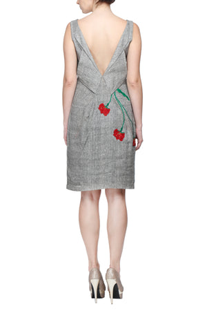 V-Neck Cocktail Dress with Hand Embroidered Flowers Back