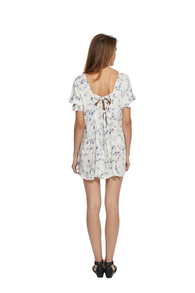 White Floral Backbow Dress Back