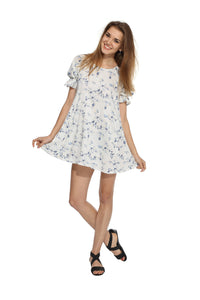 White Floral Backbow Dress Front