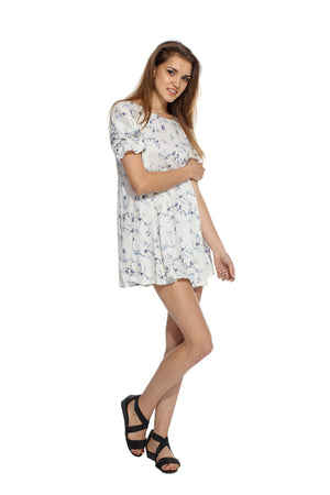 White Floral Backbow Dress Side