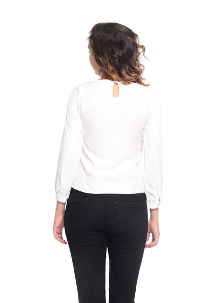 White & Black Ruffel Top Back