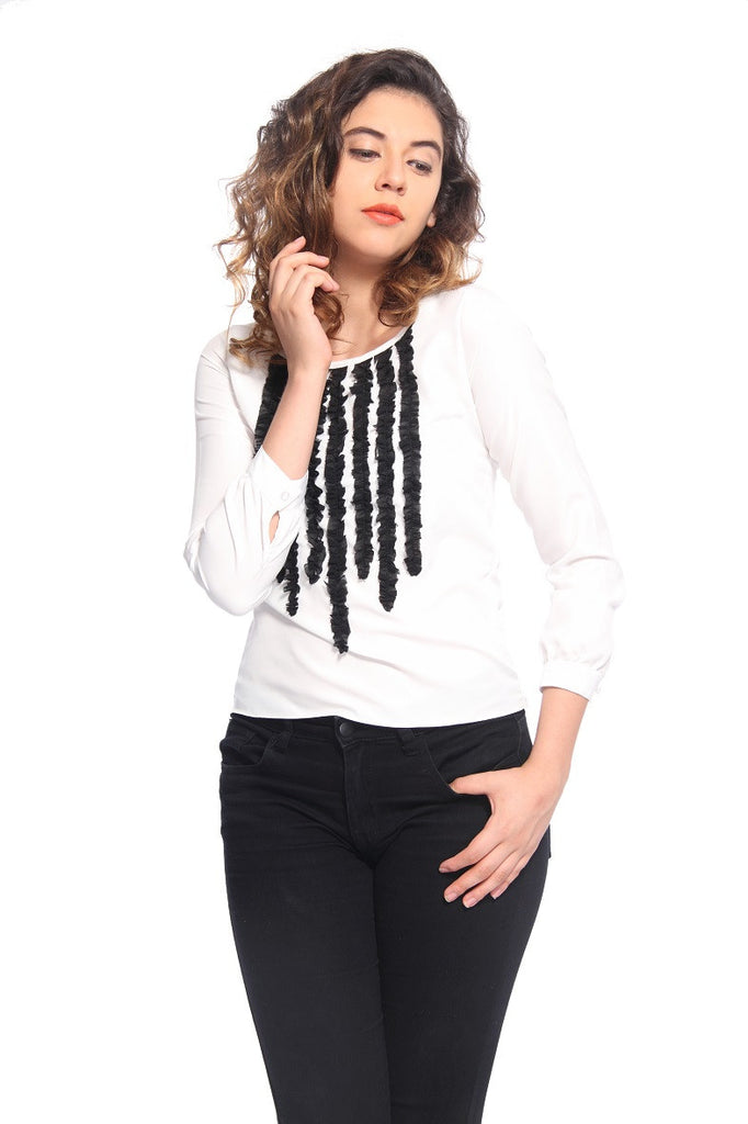 White & Black Ruffle Top Front