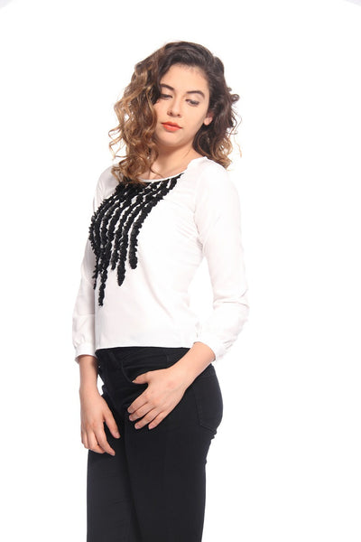 White & Black Ruffle Top Side