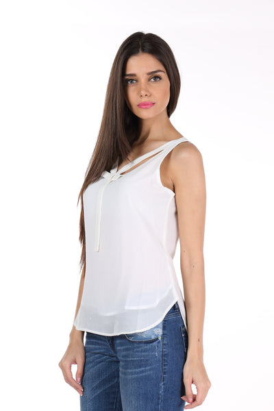 White Bowtie Neck Top Side