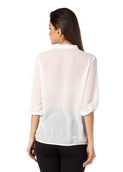 White Pussy Bow Top Back