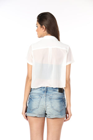 White Crop Top Back