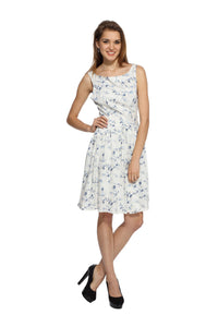 White Floral Flare Dress Front