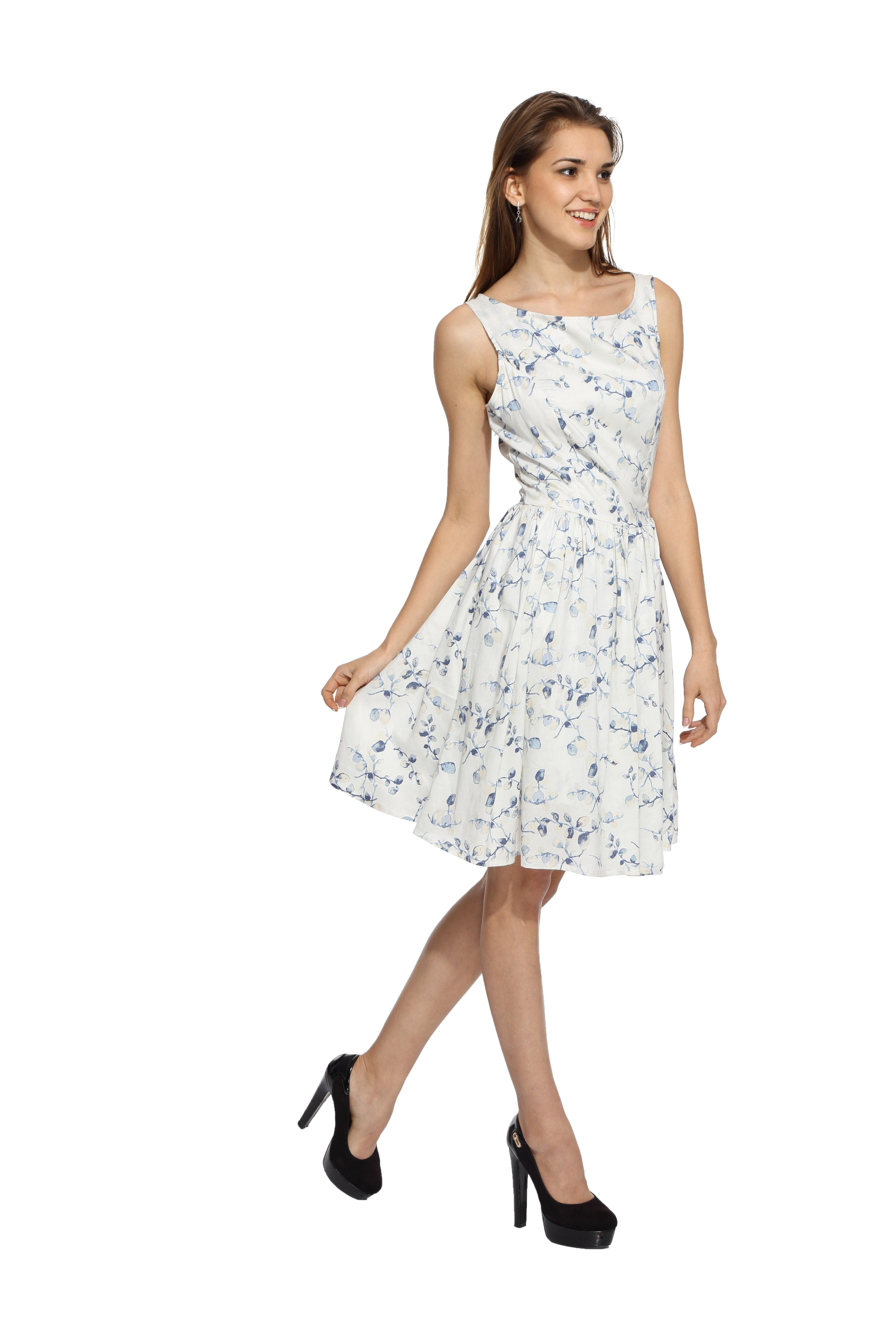 White Floral Flare Dress Side