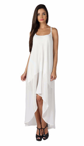 White Highlow Cross Back Dress Front