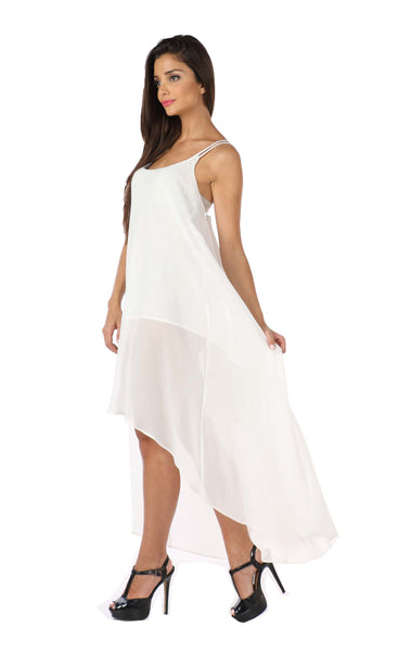 White Highlow Cross Back Dress Side