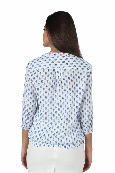 White & Blue Print Peasant Top Back