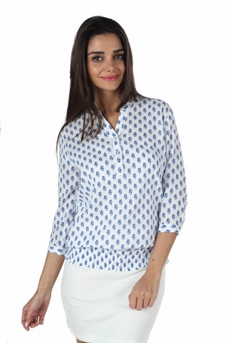 White & Blue Print Peasant Top Front