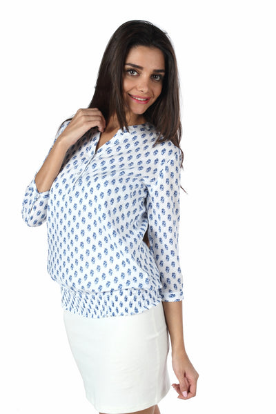 White & Blue Print Peasant Top Side