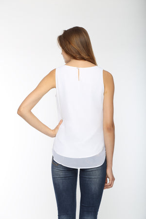White Top With Black Kitten Collar Back
