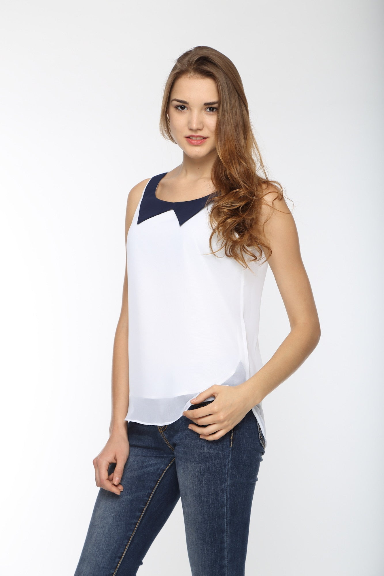 White Top With Black Kitten Collar Front