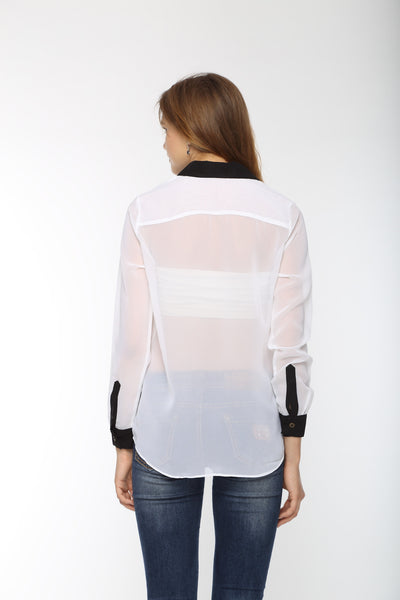White Full Sleeve Shirt With Black Cuff Top Back