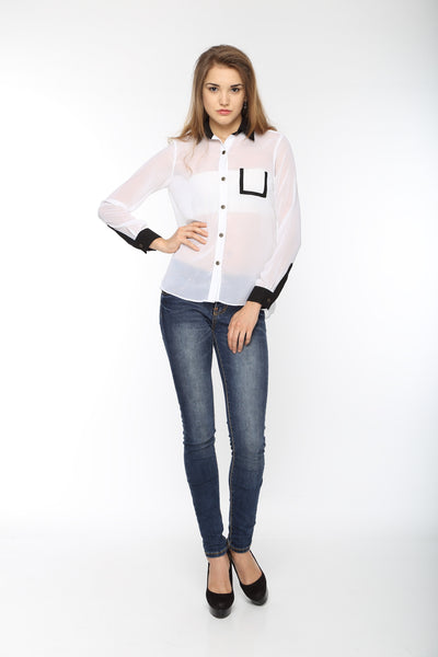 White Full Sleeve Shirt With Black Cuff Top Front