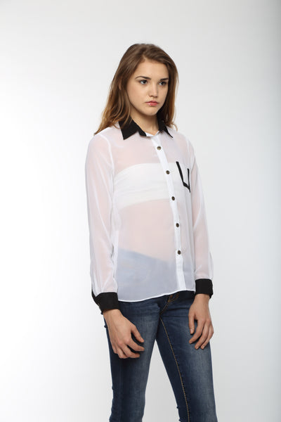 White Full Sleeve Shirt With Black Cuff Top Side