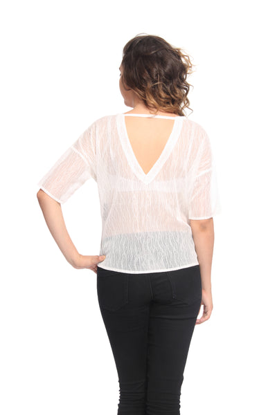 Lace Top with Cut Out Triangular Back Back