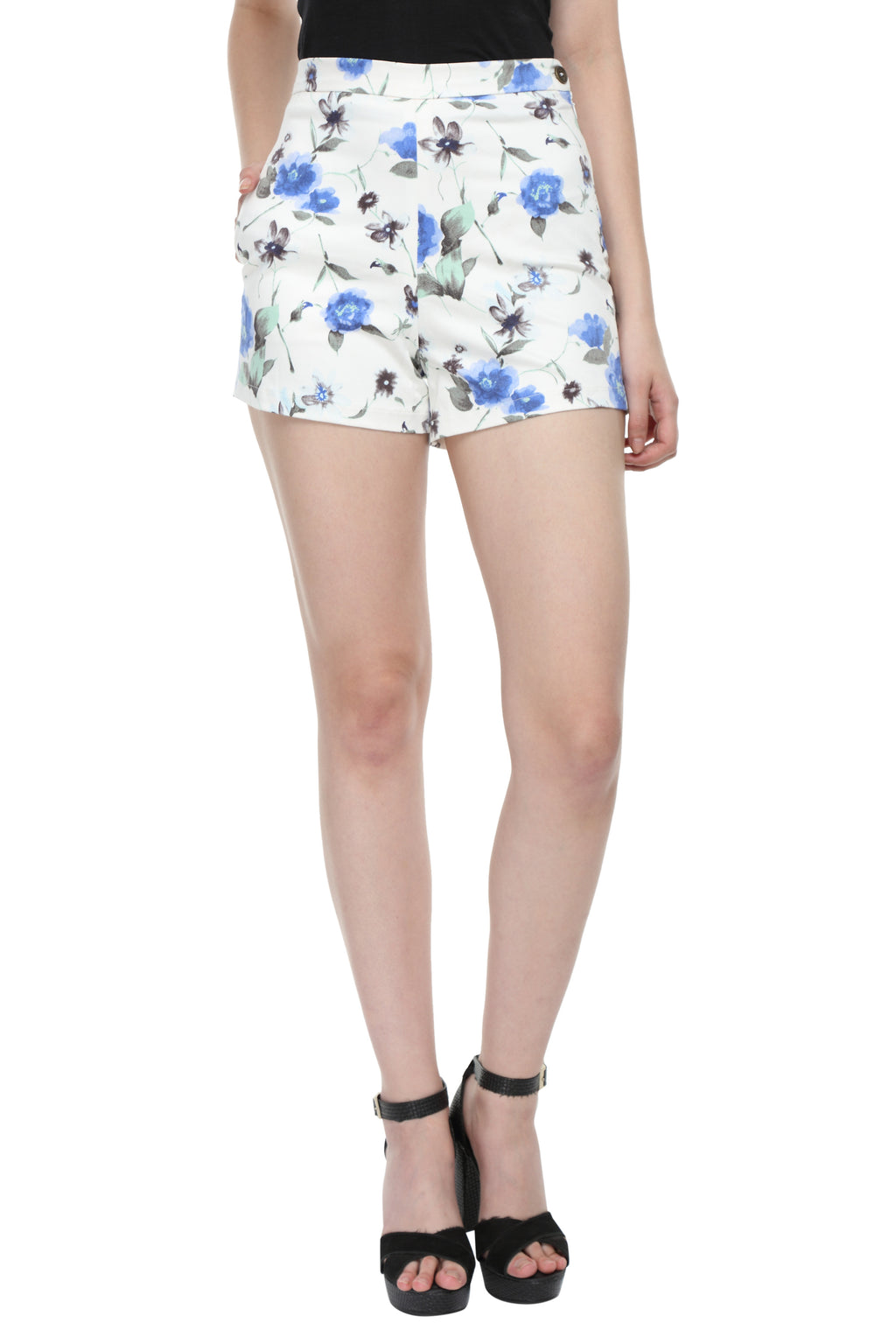 White & Blue Floral Print Highwaist Shorts